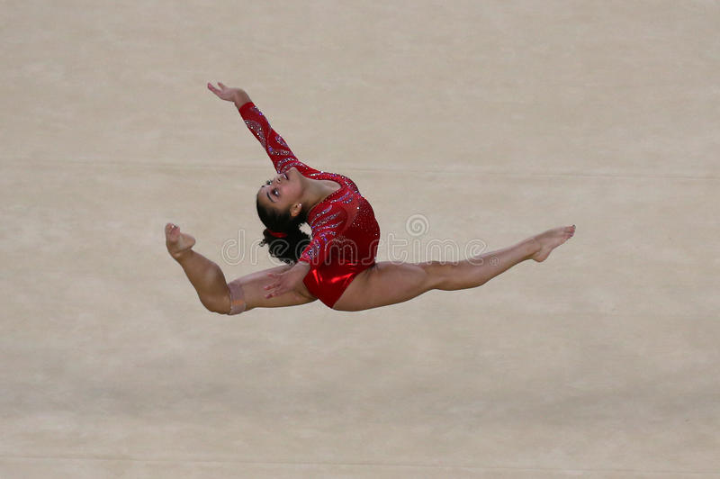 Olympic champion Laurie Hernandez of United States during an artistic gymnastics floor exercise training session for Rio 2016. RIO DE JANEIRO, BRAZIL - AUGUST 4 royalty free stock image