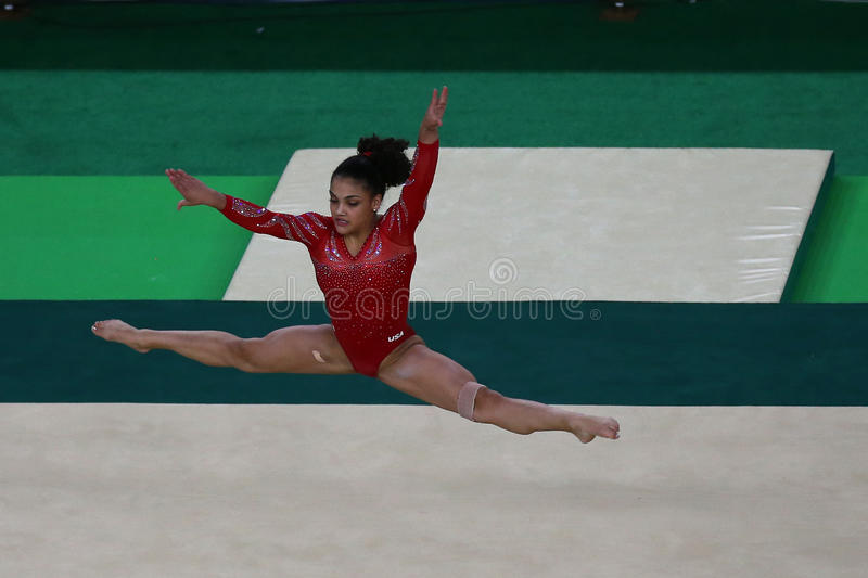 Olympic champion Laurie Hernandez of United States during an artistic gymnastics floor exercise training session for Rio 2016. RIO DE JANEIRO, BRAZIL - AUGUST 4 royalty free stock images