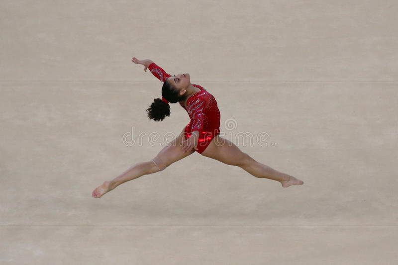 Olympic champion Laurie Hernandez of United States during an artistic gymnastics floor exercise training session for Rio 2016. RIO DE JANEIRO, BRAZIL - AUGUST 4 stock photography