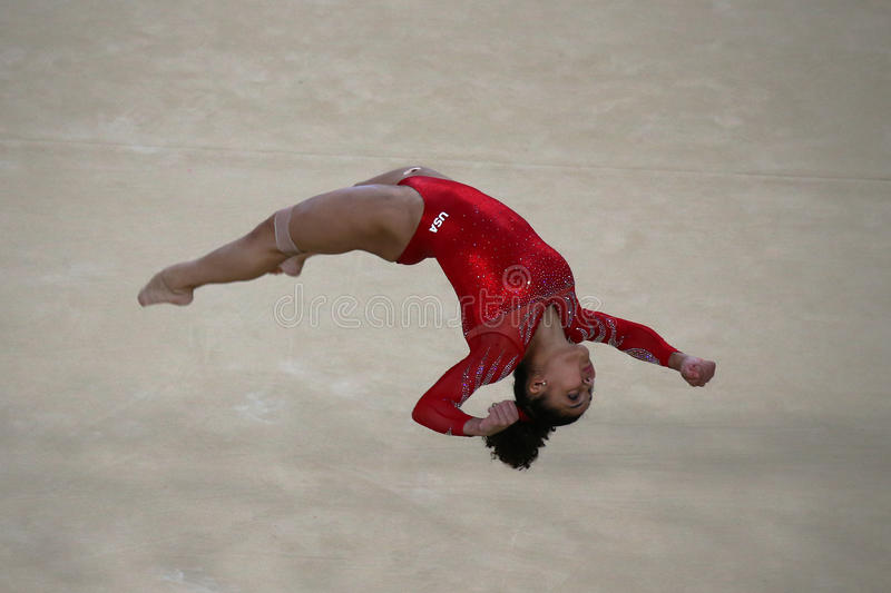 Olympic champion Laurie Hernandez of United States during an artistic gymnastics floor exercise training session for Rio 2016. RIO DE JANEIRO, BRAZIL - AUGUST 4 stock photos