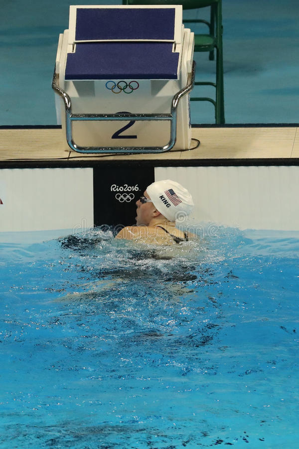 Olympic champion Lilly King of the United States after the Women's 200m Breaststroke Final of the Rio 2016 Olympic Games. RIO DE JANEIRO, BRAZIL - AUGUST 10 stock photo