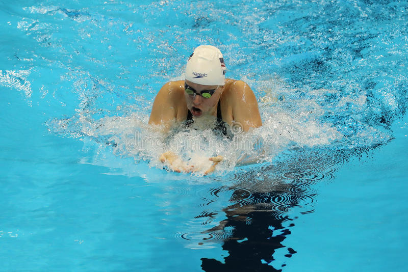 Olympic champion Lilly King of the United States during the Women`s 200m Breaststroke semifinal of the Rio 2016 Olympic Games. RIO DE JANEIRO, BRAZIL - AUGUST 10 stock photography