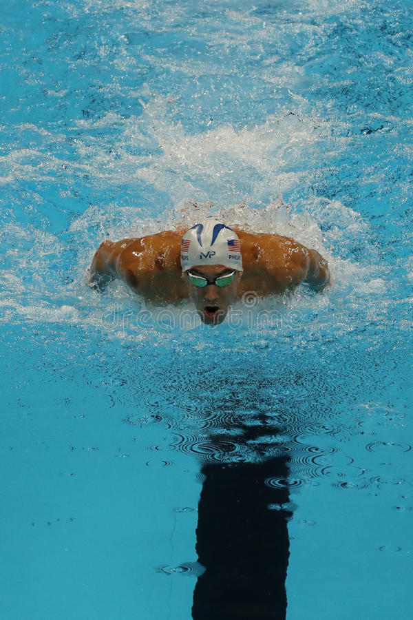 Olympic champion Michael Phelps of United States competes at the Men's 200m individual medley of the Rio 2016 Olympic Games. RIO DE JANEIRO, BRAZIL - AUGUST 10 stock photo