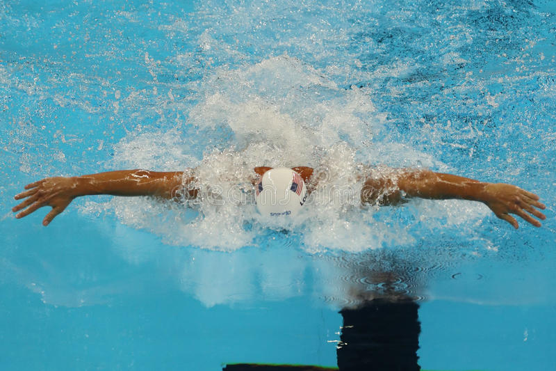 Olympic champion Ryan Lochte of United States competes at the Men's 200m individual medley relay of the Rio 2016 Olympics. RIO DE JANEIRO, BRAZIL - AUGUST 10 stock photography