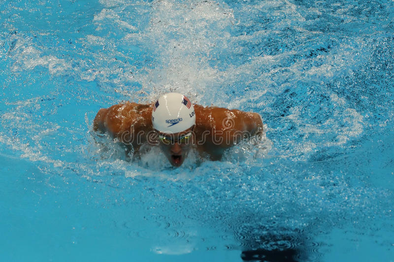 Olympic champion Ryan Lochte of United States competes at the Men's 200m individual medley relay of the Rio 2016 Olympics. RIO DE JANEIRO, BRAZIL - AUGUST 10 royalty free stock photos
