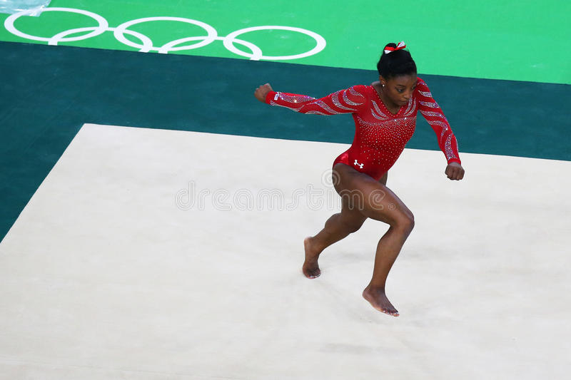 Olympic champion Simone Biles of United States during an artistic gymnastics floor exercise training session for Rio 2016 Olympics. RIO DE JANEIRO, BRAZIL stock image
