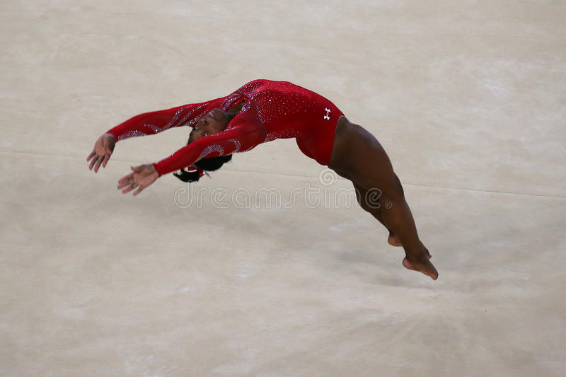 Olympic champion Simone Biles of United States during an artistic gymnastics floor exercise training session for Rio 2016 Olympics. RIO DE JANEIRO, BRAZIL stock photography