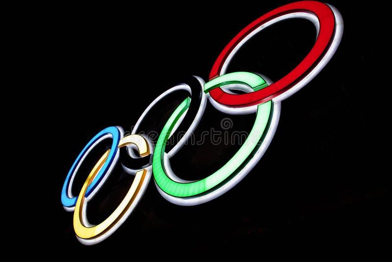 olympic cirklar royaltyfri fotografi