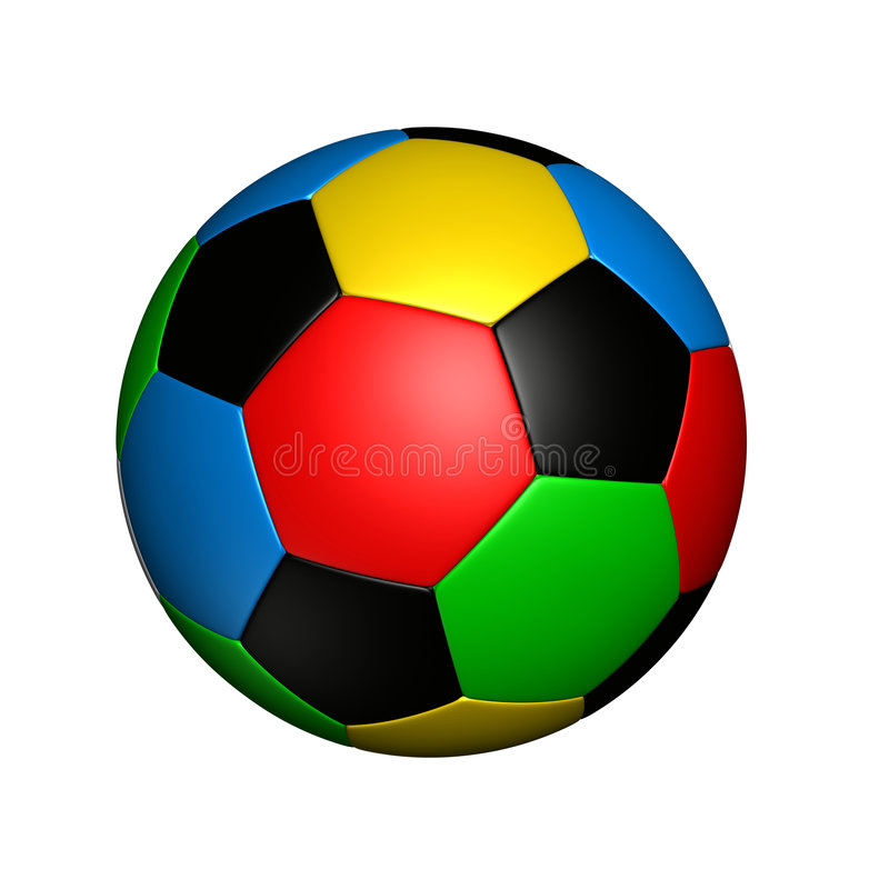 Olympic colored soccer ball royalty free illustration