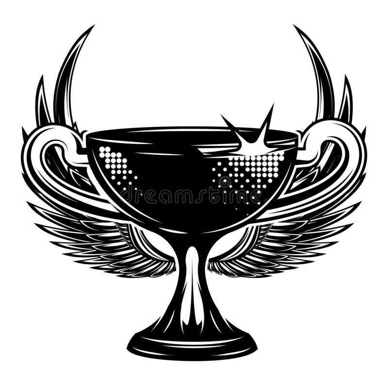 Olympic Cup with wings. Vector monochrome illustration.  vector illustration