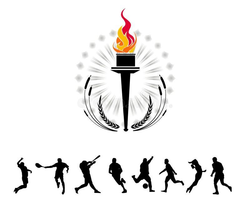 olympic fackla vektor illustrationer