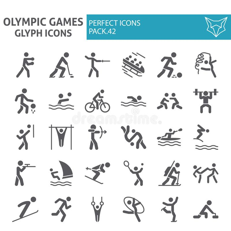 Olympic games glyph icon set, sport symbols collection, vector sketches, logo illustrations, sportsman signs solid stock illustration