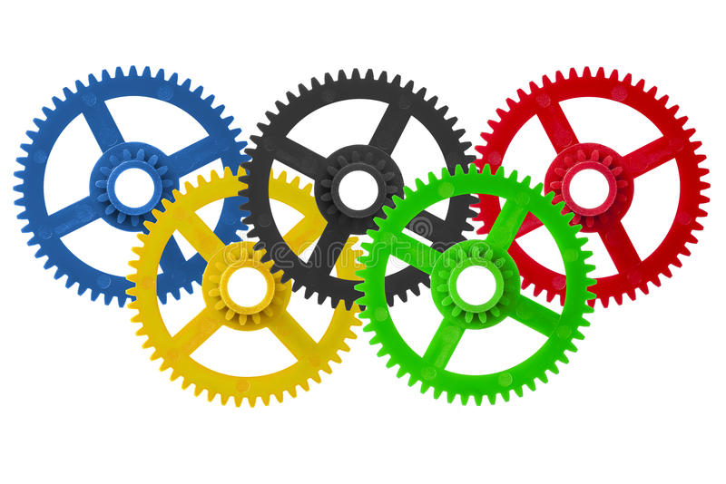Olympic games logo cogwheels. Olympic games logo made with cogwheels isolated stock photo