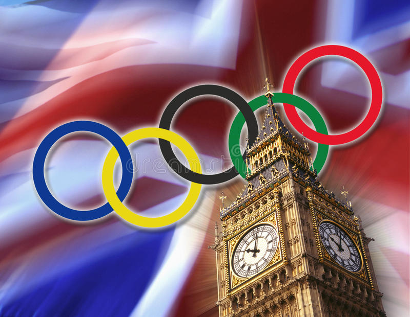 Olympic Games - London - 2012 - British Flag. Symbolic image of the London Olympics of 2012 showing the Big Ben Clock Tower, the British flag and the Olympic royalty free stock photography