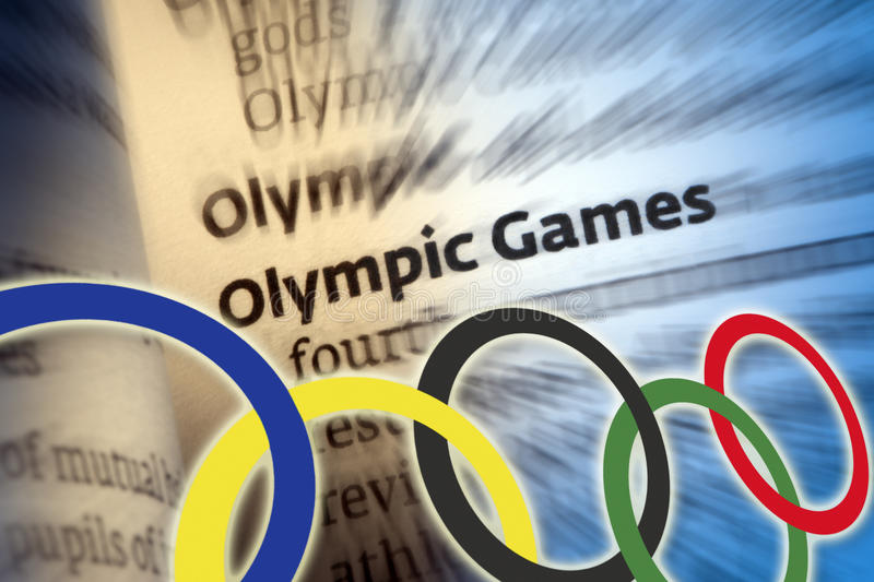 Olympic Games. A modern sports festival held traditionally every four years in different venues worldwide. Athletes representing many countries compete for stock photo