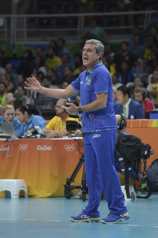 Olympic Games Rio 2016. Rio, Brazil - august 08, 2016: Coach Jose Roberto Guimaraes BRA during volleyball game Brazil BRA vs Argentina ARG in maracanazinho in stock photography