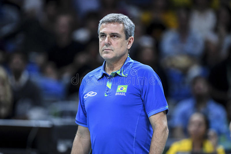 Olympic Games Rio 2016. Rio, Brazil - august 08, 2016: Coach Jose Roberto Guimaraes BRA during volleyball game Brazil BRA vs Argentina ARG in maracanazinho in royalty free stock photography