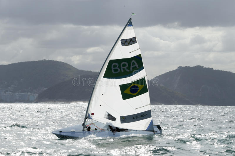 Olympic Games Rio 2016. Rio, Brazil - august 12, 2016: Fernanda DECNOP (BRA) in the Laser Women category during the Rio 2016 Olympic Games Sailing held at Marina stock image