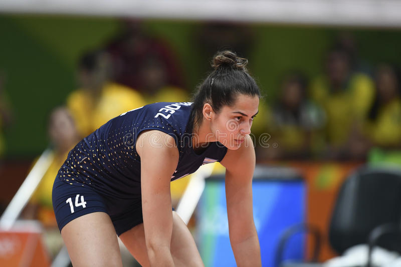 Olympic Games Rio 2016. Rio, Brazil - august 08, 2016: FERNANDEZ Josefina ARG during volleyball game Brazil BRA vs Argentina ARG in maracanazinho in the Olympics stock photography