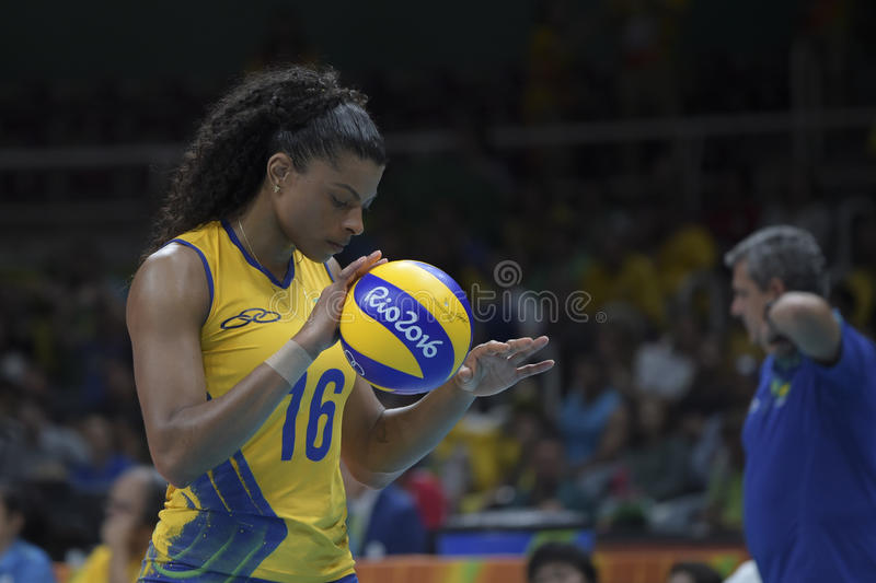 Olympic Games Rio 2016. Rio, Brazil - august 08, 2016: RODRIGUES Fernanda BRA during volleyball game Brazil BRA vs Argentina ARG in maracanazinho in the Olympics royalty free stock image