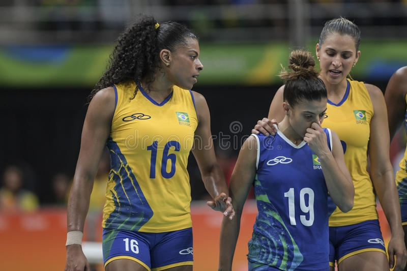 Olympic Games Rio 2016. Rio, Brazil - august 06, 2016: RODRIGUES Fernanda & x28;BRA& x29; during volleyball game Brazil & x28;BRA& x29; vs Korea & x28;KOR& x29 royalty free stock photography