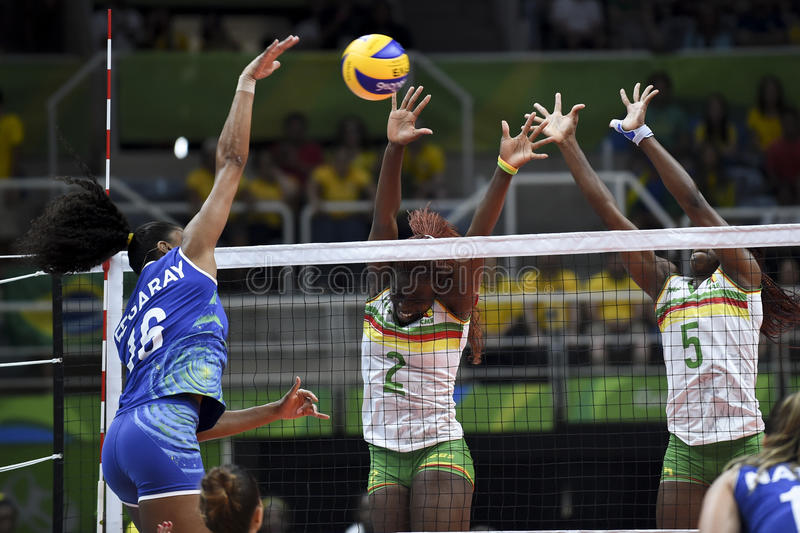 Olympic Games Rio 2016. Rio de Janeiro, Brazil - august 06, 2016: TCHOUDJANG NANA Christelle C CMR during volleyball game Brazil BRA vs Cameroon CMR in royalty free stock photography