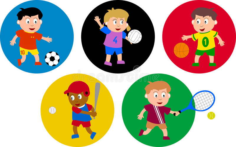 Olympic Kids. Five kids playing soccer, volleyball, basketball, baseball and tennis. Each child is surrounded by a circle: the five circles recall the five rings