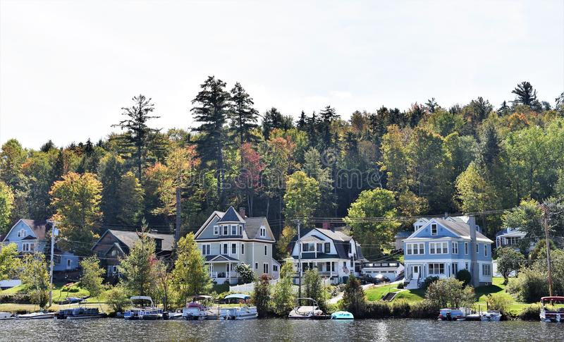 Olympic lake placid new york state usa real estate. There are some of waterfront homes in the area nearby of Olympic Lake Placid in state of New York , USA as royalty free stock photos