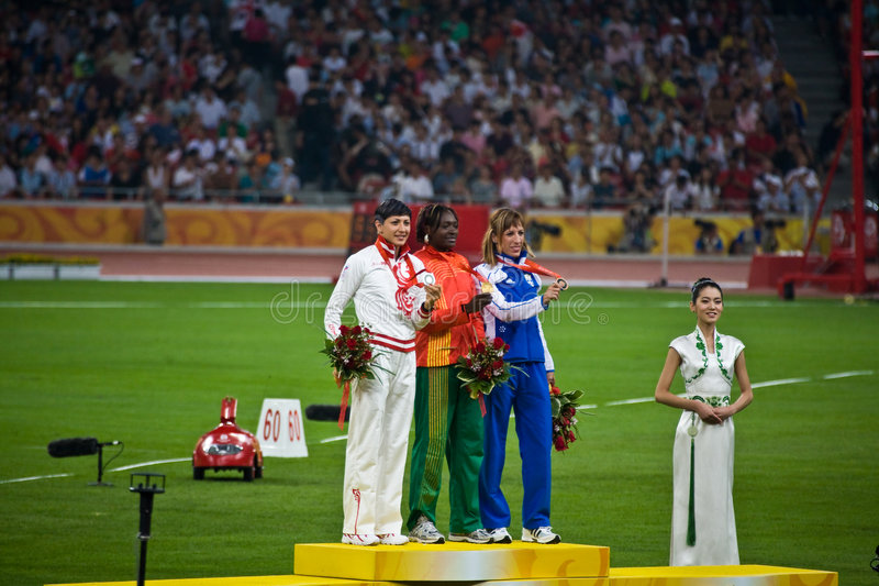Download Olympic Medal Ceremony Women's Triple Jump Editorial Image - Image: 6174115