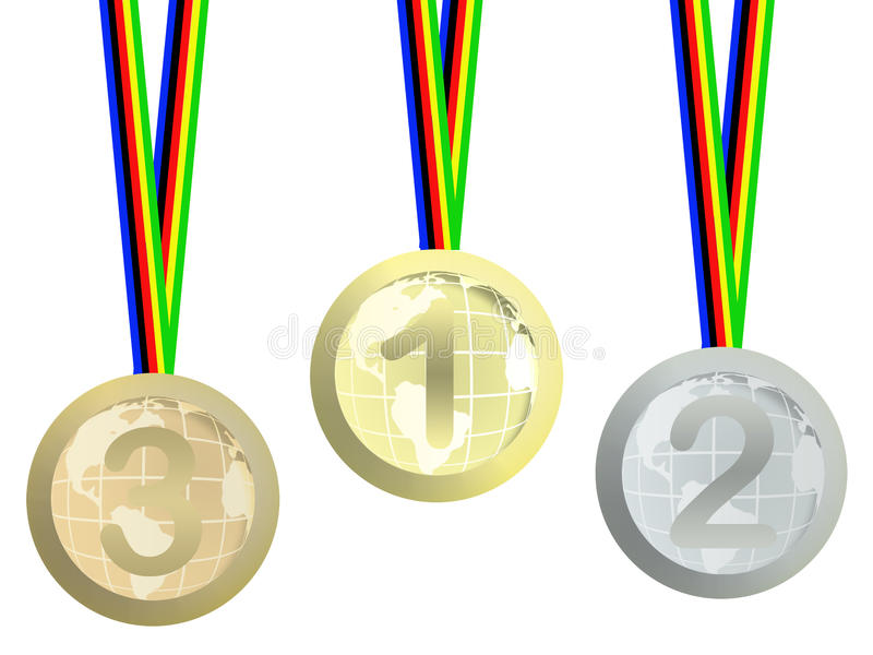 Download Olympic medals stock illustration. Image of medal, globes - 12536299