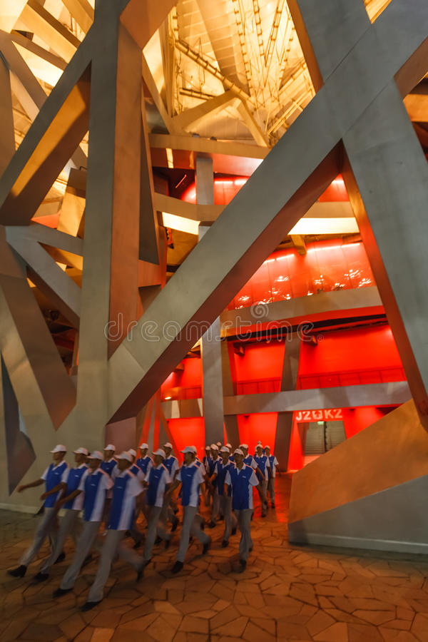 Olympic Men Volunteers Enter Birds Nest Stadium Editorial Image
