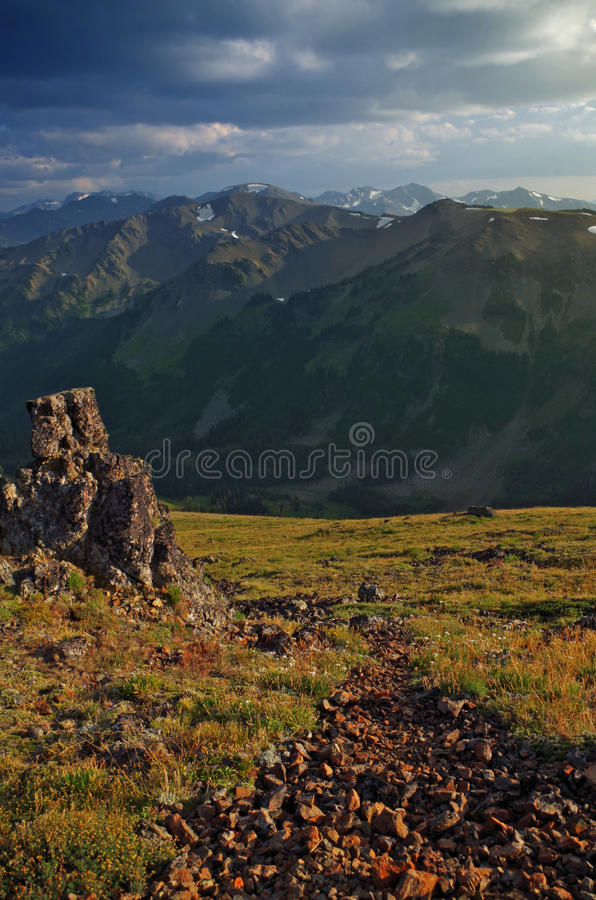 Olympic Mountain Range, Washington State. Olympic Mountains viewed at sunset from the Grand Ridge trail at an altitude of 5000 feet stock photography