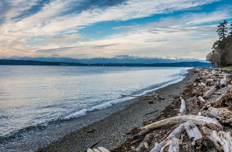 Olympic Mountains Landscape. A view of the snow-capped peaks of the Olympic Mountains in Washington State stock photo