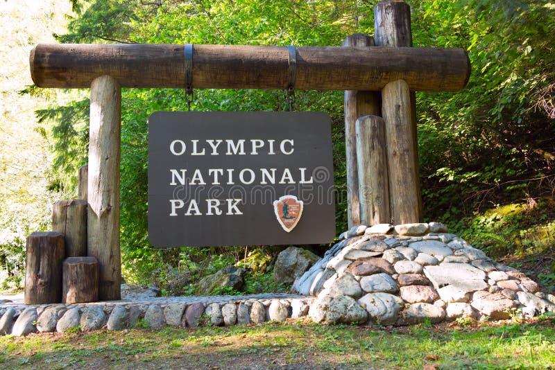 Olympic National Park Sign. The Olympic National Park sign, near Lake Cushman, Hoodsport, Washington, USA royalty free stock images