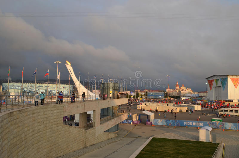 Olympic park in Sochi. Olympic park during XXII winter Olympic games 2014 in Sochi Russia stock photo