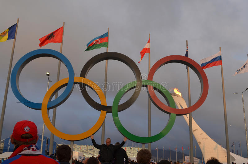 Olympic park in Sochi. Olympic park during XXII winter Olympic games 2014 in Sochi Russia royalty free stock image