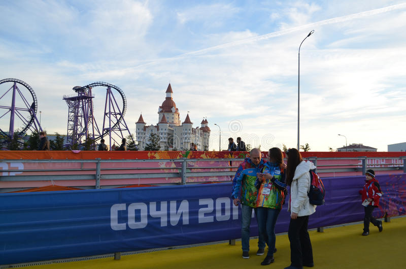 Olympic park in Sochi. Olympic park during XXII winter Olympic games 2014 in Sochi Russia stock photography