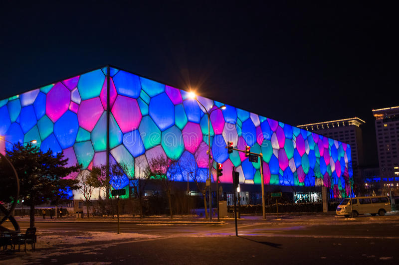 Olympic park Water Cube night scene. In beijing ,china royalty free stock images