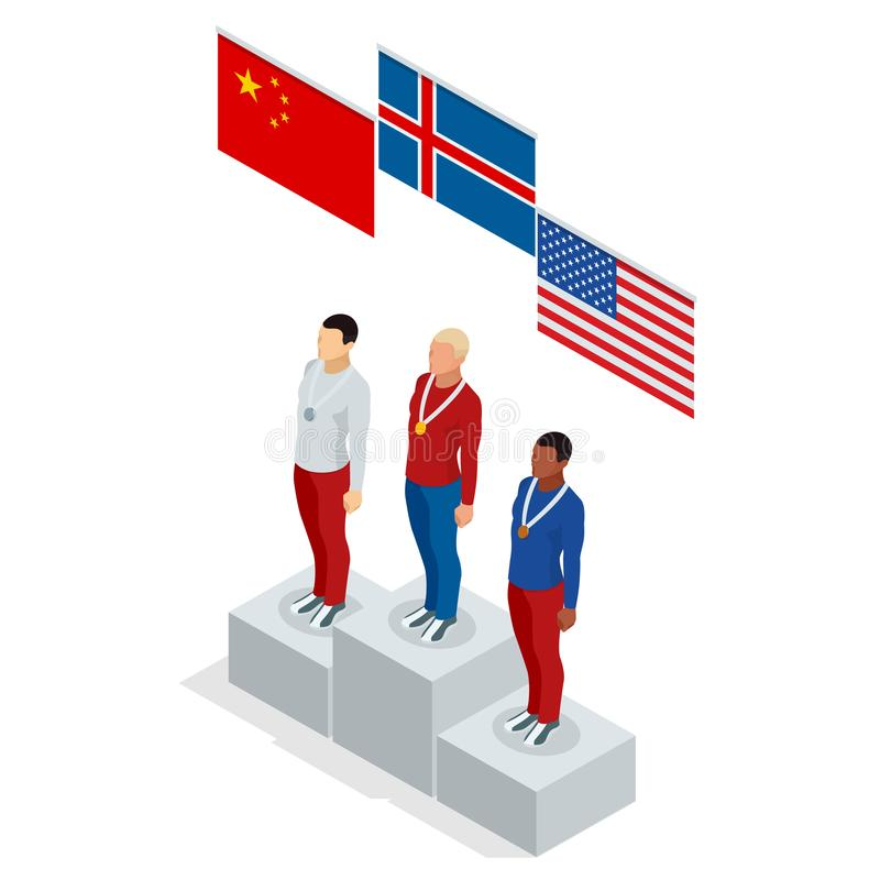 Olympic Podium stand isometric sports man winner athlete Athletic Podium. Three men on place pedestal, first place royalty free illustration