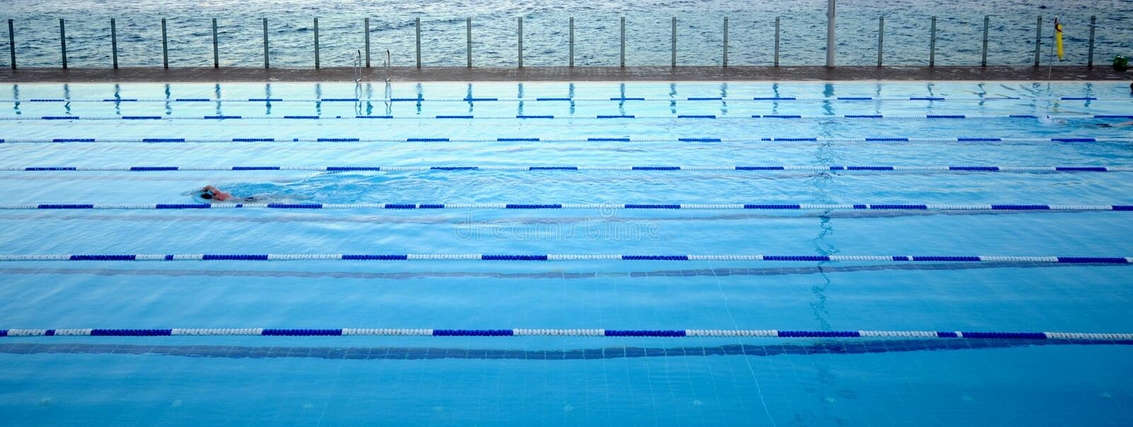 Olympic Pool. Swimming in an outdoor olympic pool stock photo
