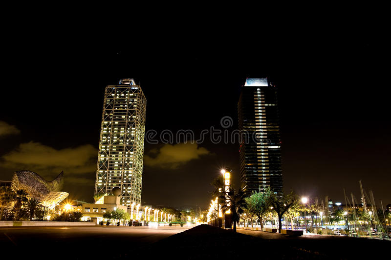 Olympic port in Barcelona at night stock photos