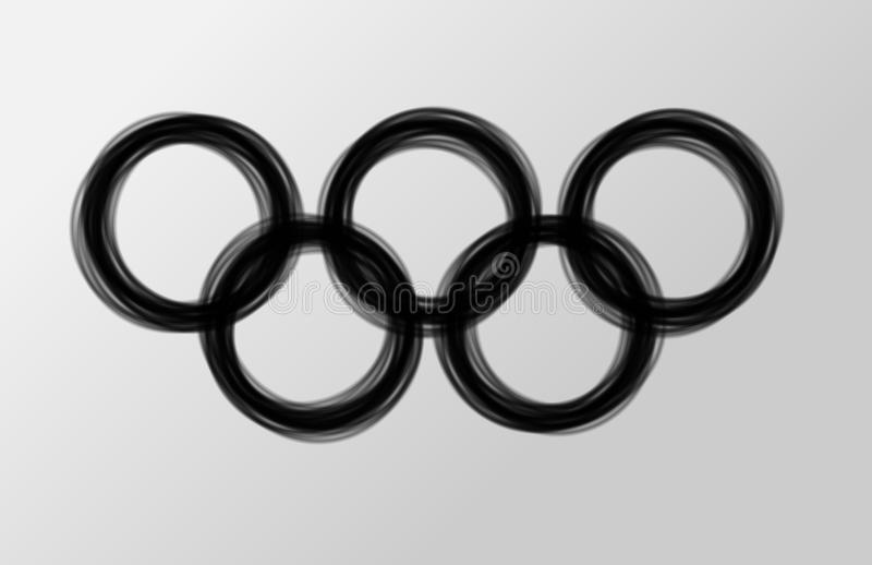 Olympic rings. Black olympic rings made of smoke or burned into