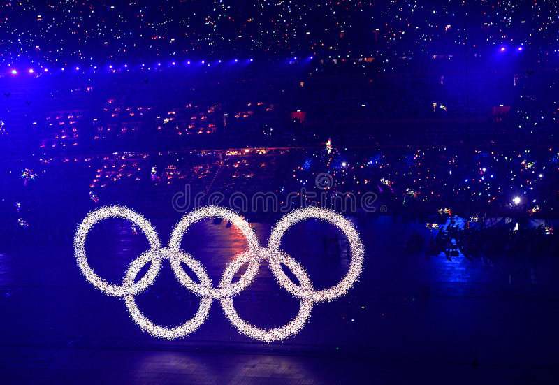 Olympic rings. The opening ceremony of the 2008 Summer Olympics,beijing