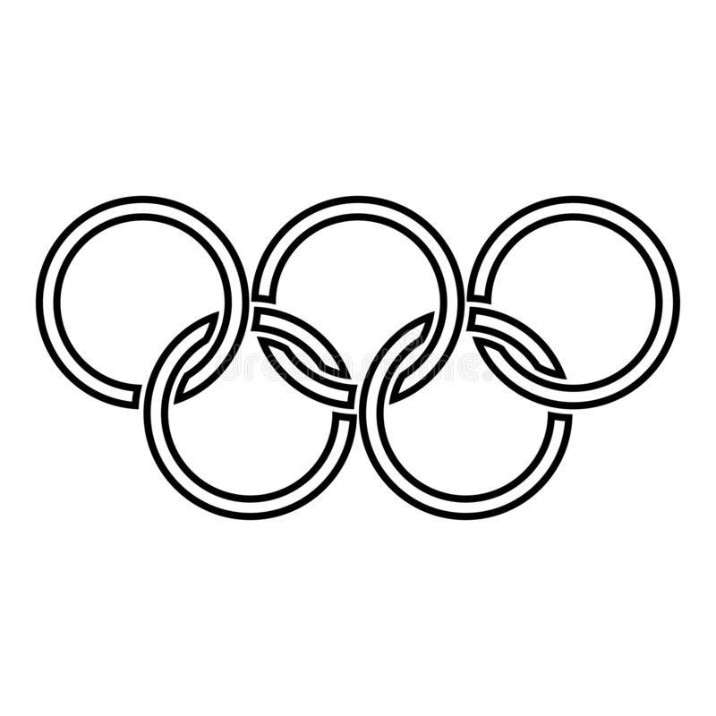 Olympic rings Five Olympic rings icon black color outline vector illustration flat style image. Olympic rings Five Olympic rings icon black color outline vector royalty free illustration