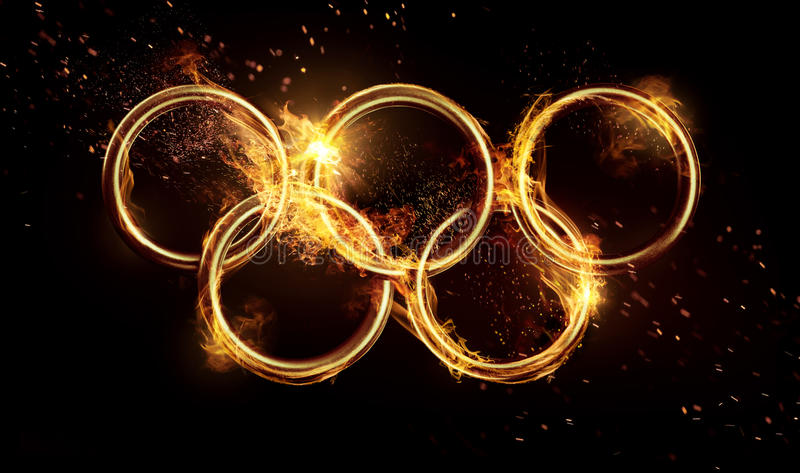 Olympic rings. In the flame stock image