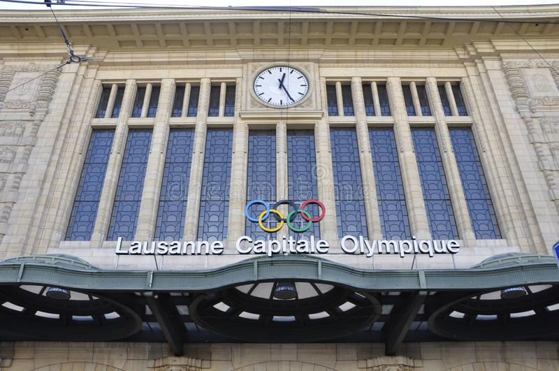 The Olympic RIngs at the Lausanne City train station in Switzerland stock images