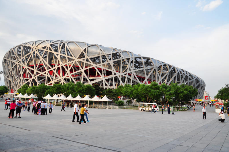 olympic stadion för beijing fågelrede royaltyfri foto