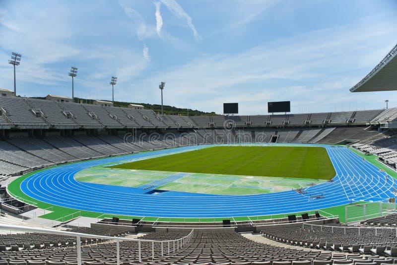 The olympic stadium. The empty Barcelona olympic stadium stock photo