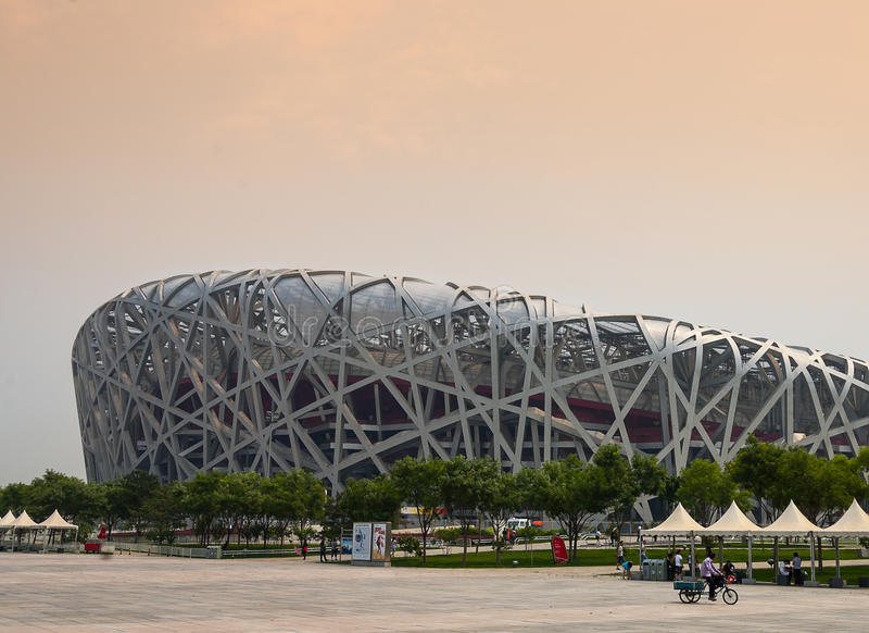 The olympic stadium 2008, Birds nest royalty free stock photos