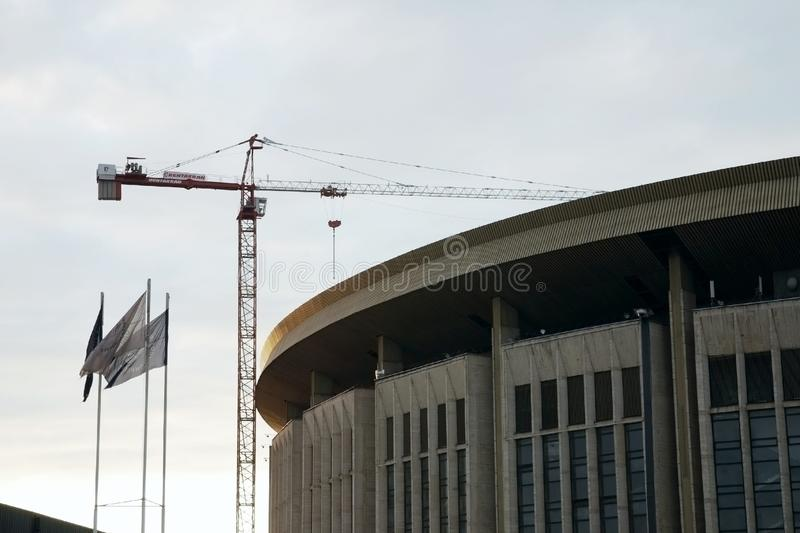 Olympic Stadium building in Moscow under construction royalty free stock photography